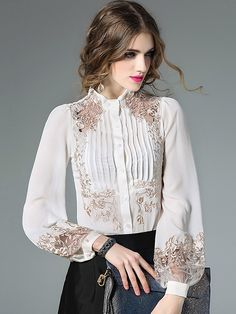 436bfcd5cdc073 Just Shop for Embroidery Hollow Out Stand Collar Vintage Blouses from  Jollyhers Online now: All