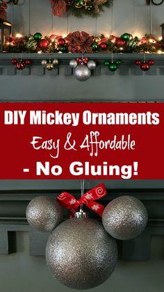 Super cute disney christmas tree ornament make a homemade minnie diy mickey ornaments easy affordable no gluing solutioingenieria Gallery