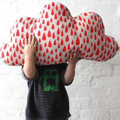 Cloud Cushion by Harvest Textile: Also comes with aqua raindrops! #Cushion #Cloud_Cushion #Harvest_Textile