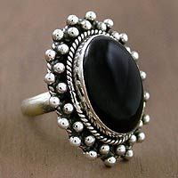 Onyx cocktail ring, Moon Halo Indian designer Mahavir looks to the moon for inspiration. He selects black onyx for the lunar illusion, and surrounds it with a sterling silver halo. Silver Rings With Stones, Mens Silver Rings, Silver Jewellery Indian, Silver Jewelry, Jewelry Tumblr, Jewelry Accessories, Women Jewelry, Onyx Ring, Bracelets For Men
