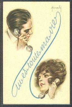 NV173-ART-DECO-a-s-PINOCHI-COUPLE-Romance-TELEPHONE-TU-ES-MA-PASSION