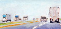 """""""Trucks on I-5"""" by Ann Tuck, Atlanta // This is a scene of a hazy summer day on Interstate 5 in central California.  I was traveling from San Francisco to LA with my boyfriend just before leaving for an 8-month assignment in England.  I remember feeling strangely assured at that moment that I would see him again and that everything was... // Imagekind.com -- Buy stunning, museum-quality fine art prints, framed prints, and canvas prints directly from independent working artists and…"""