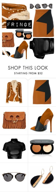 """""""A little fringe goes a long way"""" by sunnydays4everkh ❤ liked on Polyvore featuring Balmain, MSGM, J.W. Anderson, Bobbi Brown Cosmetics and Christian Dior"""