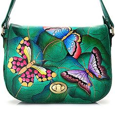Anuschka Hand-Painted Leather Flap-over Turn Lock Shoulder Bag w/ Card Case