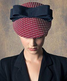 Fashion hat Raspberry and Navy Visor -- Louise Macdonald