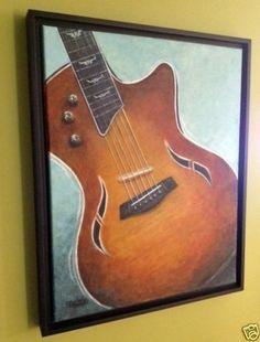 "16x20"" Original Painting Taylor Guitar Framed Art by Rebecca Salcedo #Realism"