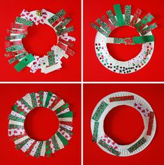 Paper plate wreaths, with paper plates (duh), wrapping paper cut into strips (or whatever), various glitter/sparkle, hang a bell in the middle and voi la!