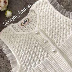 Discover thousands of images about Nursel Akova ( Baby Sweater Knitting Pattern, Knit Vest Pattern, Baby Knitting Patterns, Lace Knitting, Crochet Girls, Crochet Woman, Crochet Baby, Baby Pullover, Baby Vest