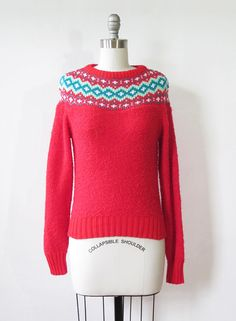 red fair isle sweater / vintage 80s nordic by RustBeltThreads