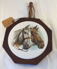 Vintage Ma Leck Woodcrafts Covered Butter Cheese Serving Dish Horses Glass Dome #MaLeck