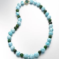 One-of-a-kind Larimar and chrome diopside bead necklace with a tourmaline and diamond clasp in 18k yellow gold by Daria de Konig