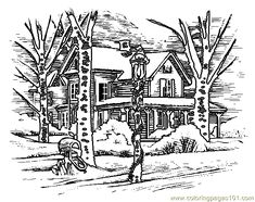 Houses to Color and Print for adults | Coloring Pages House (Architecture > Houses) - free printable coloring ...