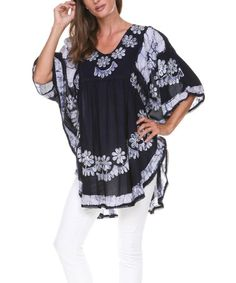 This Gray & Black Floral Embroidered Dolman Tunic by Ananda's Collection is perfect! #zulilyfinds