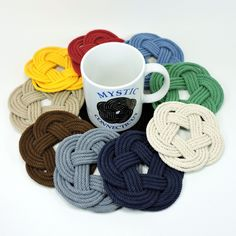 Sailor Knot Coasters, Nautical Colors, Set of 4 - Mystic Knotwork nautical knot