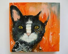 Original cat painting mixed media art painting by thesecrethermit