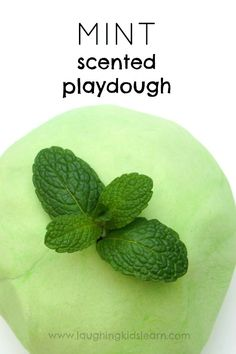 Instructions on how to make mint scented play dough. Great for developing senses through play. Playdough is fun for open-ended play with kids. Playdough Activities, Infant Activities, Activities For Kids, Crafts For Kids, Learning Activities, Homemade Playdough, Sensory Play, Baby Sensory, Sensory Bins
