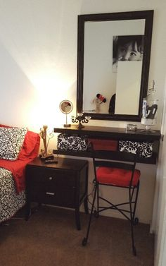 Small bedroom spaces - vanity and makeup storage ideas                                                                                                                                                                                 More