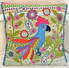 Exotic Bird Cushion by lucy levenson  love it!