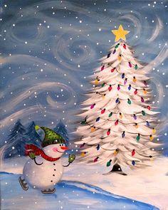 Christmas Rock, Christmas Canvas, Christmas Paintings, Winter Christmas, Vintage Christmas, Christmas Crafts, Christmas Lights, Winter Painting, Winter Art
