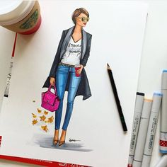 Morning desk essentials! Sketch party today. Copic Markers, fashion sketch party by Houston fashion Illustrator Rongrong DeVoe. www.rongrongdevoe.com