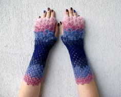 Knit Fingerless Gloves, Long Wrist Warmers Stocking Stuffer Arm Warmers, Womens Gloves, Wrist Warmers blue pink