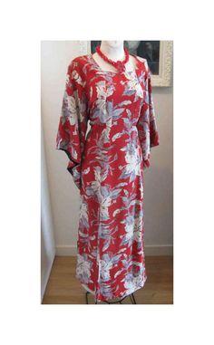 XL Vintage Red Hawaiian Pake Muu Dress McInerny's Tropical