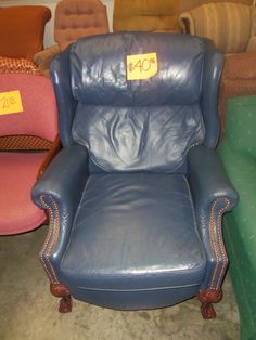 We have so many awesome chairs like this one all over our ReStore! This blue chair is only $40, and we have so many more that are even cheaper!