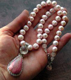 pretty in pink - rhodocrosite, rose quartz, and fw pearls