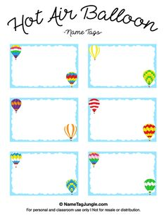 Free printable hot air balloon name tags. The template can also be used for creating items like labels and place cards. Download the PDF at http://nametagjungle.com/name-tag/hot-air-balloon/