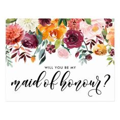 Watercolor Autumn Blooms Be My Maid of Honour Postcard  sc 1 st  Pinterest & Pink and purple fuschia flower paper plates | Flower paper