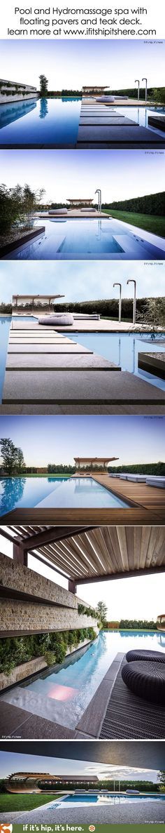 An amazing pool and spa divided by pavers and  surrounding teak deck area. More…