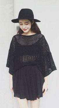 Fashiontroy Hipster & indie 3/4 sleeves crew neck black beige see-through/sheer cutout knitted top