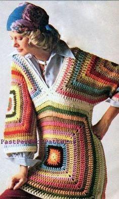 Transcendent Crochet a Solid Granny Square Ideas. Inconceivable Crochet a Solid Granny Square Ideas. Granny Square Häkelanleitung, Granny Square Crochet Pattern, Crochet Granny, Knit Crochet, Granny Squares, Hippie Crochet, Hippie Boho, Moda Crochet, Pullover Pink
