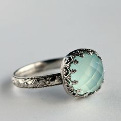 SS Aqua Chalcedony Cocktail ring  My favorite stone! In the book of Revelation it says chalcedony is in the streets/walls of heaven! The aqua color reminds me of the heavens!