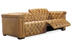 The Bromley Chesterfield wall hugger power leather recliner sofa featuring an inviting design and amenities. Club Furniture, Hooker Furniture, Furniture Upholstery, Leather Furniture, Furniture Ideas, Sunroom Furniture, Basement Furniture, Coaster Furniture, Unique Furniture