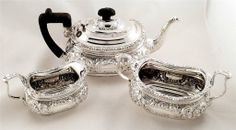 Super quality antique silver embossed 3 piece teaset Sheffield 1905