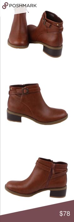 """‼️SALE Rockport Kirtland Low Boots New Brand New Never Worn  Amazing all leather boots by Rockport. A brand known  for quality, comfort and style.  •Brown Leather upper •Side zipper closure for easy on/off •Decorative buckle around collar •Approximately 1.75"""" stacked heel height •Size 8.5 • No Box Rockport Shoes Ankle Boots & Booties"""