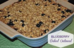 Blueberry Baked Oatmeal...my favorite go-to oatmeal recipe that always tastes delicious! Plus it's super easy to quickly throw together!!