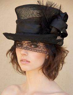 ??????????????????????????????????????????????????????????????????????????????????????????????????????????????????   Black Sinamay Victorian Riding Hat....love this!