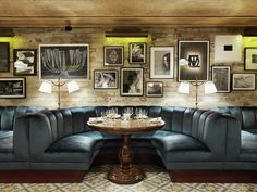 """little House Mayfair"" in London, part of the ""SoHo House"" family of restaurants - fantastic interior design Design Bar Restaurant, Restaurant Booth, Restaurant Lounge, Restaurant Concept, Restaurant Interiors, House Restaurant, Booth Seating, Banquette Seating, Kitchen Banquette"