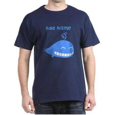 Cafepress Personalized Whale Dark T-Shirt, Size: Medium, Blue