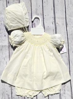 33c56c249 Petit Ami Girls Maize Yellow Smocked Bishop Dress with Bonnet & Bloomers  Newborn