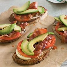 Avocado, Bacon & Tomato Tartines... Toasted country-style bread and rich aioli add irresistible flavors and textures. Perfect for a simple lunch or light supper.