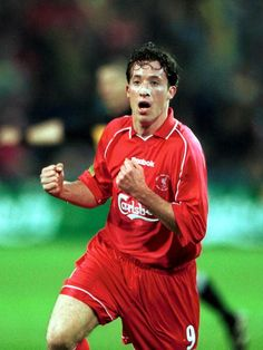 Robbie Fowler celebrates after scoring the fourth goal for Liverpool during the UEFA Cup Final between Liverpool and Deportivo Alaves at the...