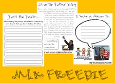 Martin Luther King Freebie! - Re-pinned by @PediaStaff – Please Visit http://ht.ly/63sNt for all our pediatric therapy pins
