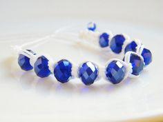 Sapphire Blue Crystal Beads Bracelet White by LadyRebelDesigns, $23.00