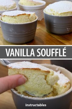 Eating this vanilla soufflé is like consuming a sweet, light, and airy cloud! Vanilla Souffle Recipes, Souffle Recipe Dessert, Souffle Recipes Easy, Vanilla Desserts, Just Desserts, Delicious Desserts, Gourmet Recipes, Sweet Recipes, Cooking Recipes