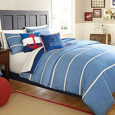 "guest bedroom. bed bath & beyond ""hampton stripe comforter"""