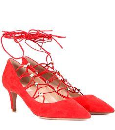 Rote Pumps Rockstud aus Veloursleder By Valentino