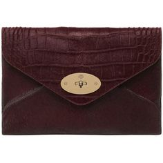 Willow Clutch Oxblood Mixed Exotic (26,745 MXN) ❤ liked on Polyvore featuring bags, handbags, clutches, accessories, purses, envelope clutch bag, brown handbags, leather handbags, brown leather purse and leather envelope clutch bag